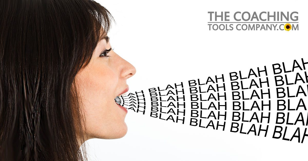Talkative Client with Blah Blah Blah coming out of mouth