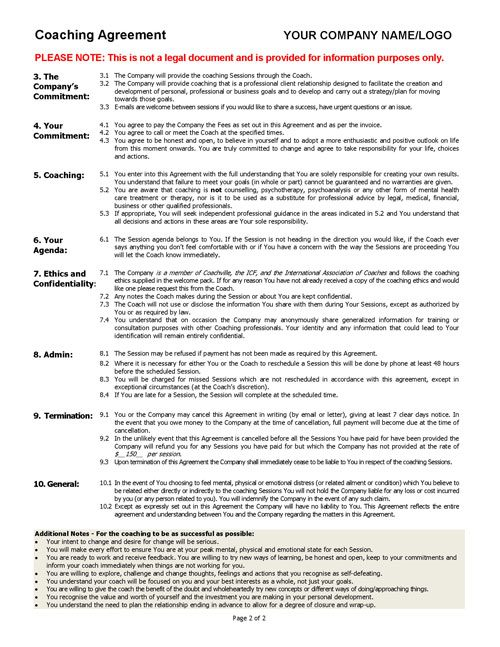 Coaching Agreement Contract TEMPLATE Sample Coaching Tools From - Company contract sample