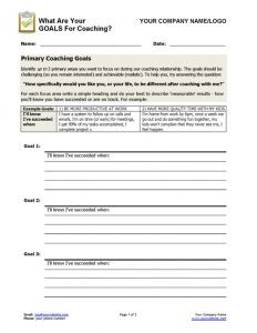 Coaching Goals Worksheet