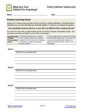 Set Coaching Goals Worksheet Page 1