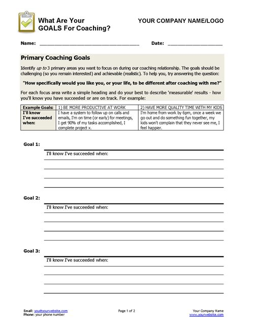 coaching goals worksheet coaching tools from the coaching tools. Black Bedroom Furniture Sets. Home Design Ideas