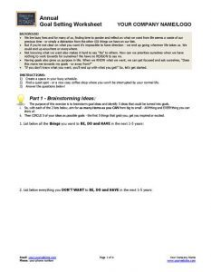 Annual Goal-Setting Worksheet Page 1