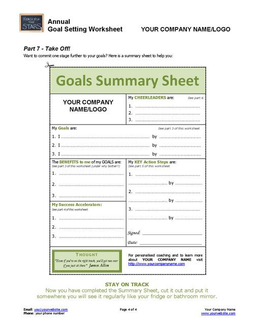 ANNUAL GoalSetting Worksheet – Setting Worksheet