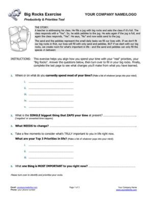 Small Business Coaching Big Rocks and Little Rocks Exercise Page 1