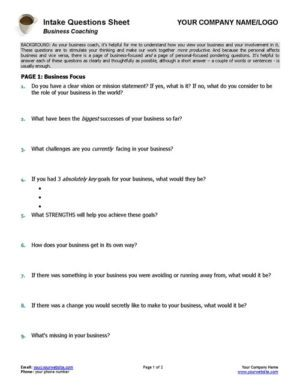 Small Business Intake Questions Coaching Form Page 1