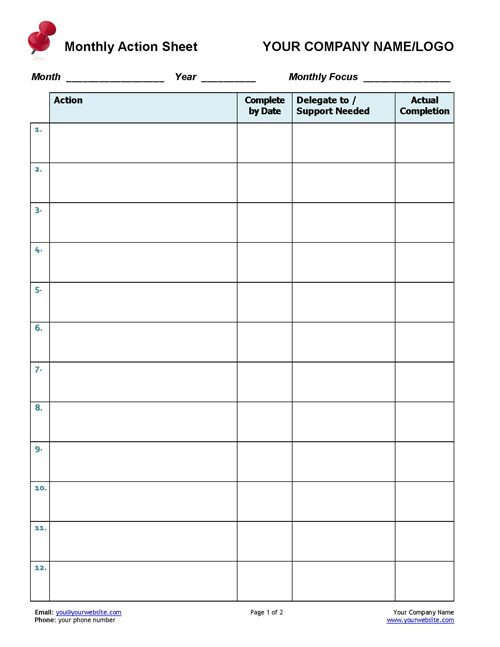 Business Coaching Monthly Action Tracker Coaching