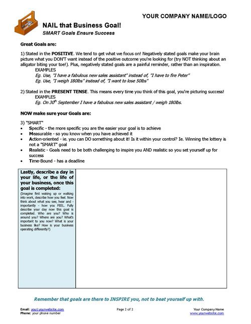 Business coaching nail that goal coaching tools from the small business coaching smart goal setting template page 2 wajeb Choice Image