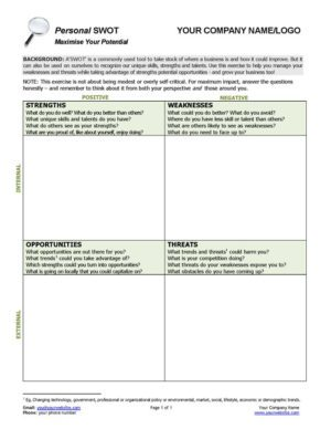 Personal SWOT Analysis Tool for Small Business Coaching
