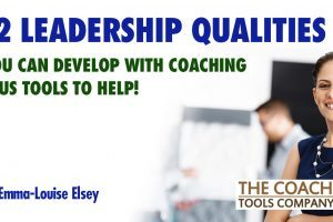 Leadership Qualities shown by person standing with team behind