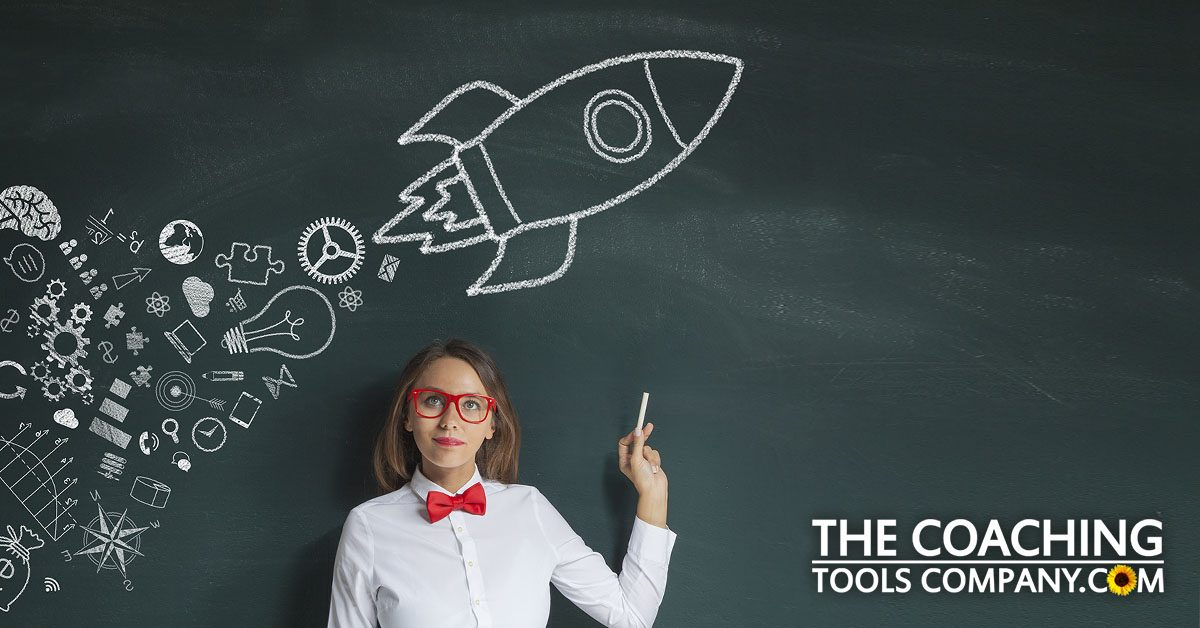 Client Get Motivated with Words Rocket on blackboard