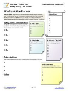 Weekly Daily Task Planner Coaching Tool Page 1