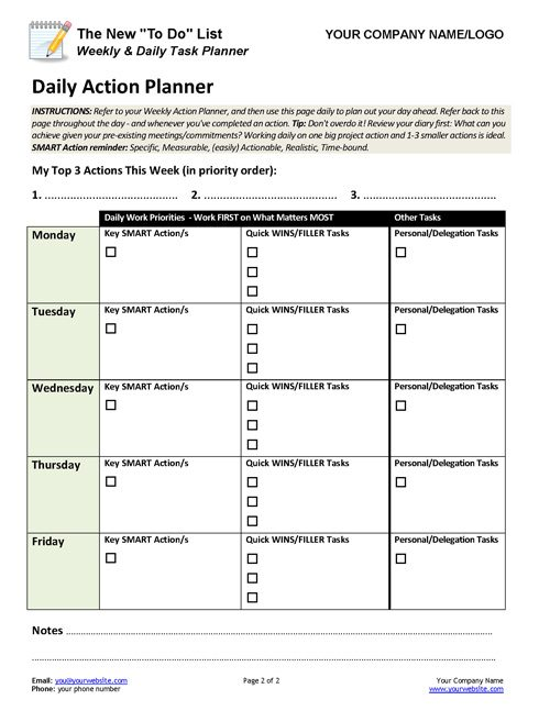 daily to do list planner