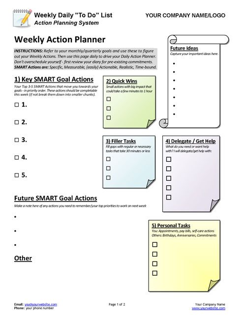 Business Coaching Weekly Daily To Do List Action Planner Coaching Tools From The Coaching Tools Company Com