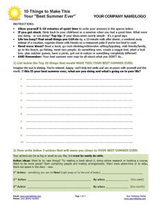 Best Summer Ever Coaching Worksheet