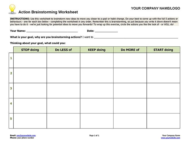 Action Brainstorming Worksheet Image