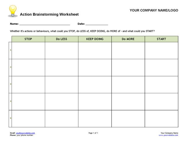 Worksheets Brainstorming Worksheet action brainstorming worksheet coaching tools from the company com