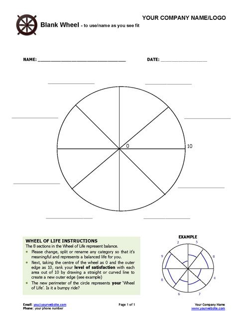 Blank coaching wheel coaching tools from the coaching for Blank wheel of life template