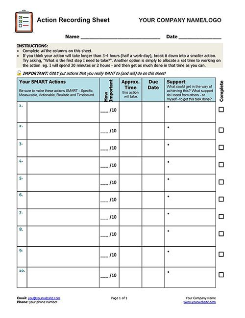 Client Action Recording Sheet TEMPLATE
