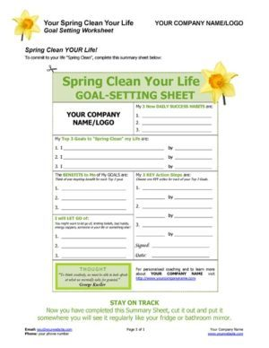 Spring Clean Your Life Summary Sheet Image