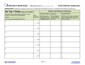 Coaching Program Goal-Setting Worksheet for Next 3 Months