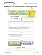 Renew You Love Your Life Coaching Program Highlights Worksheet