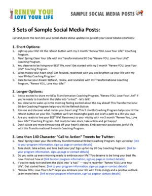Renew You Love Your Life Coaching Program Sample Social Media Posts Document