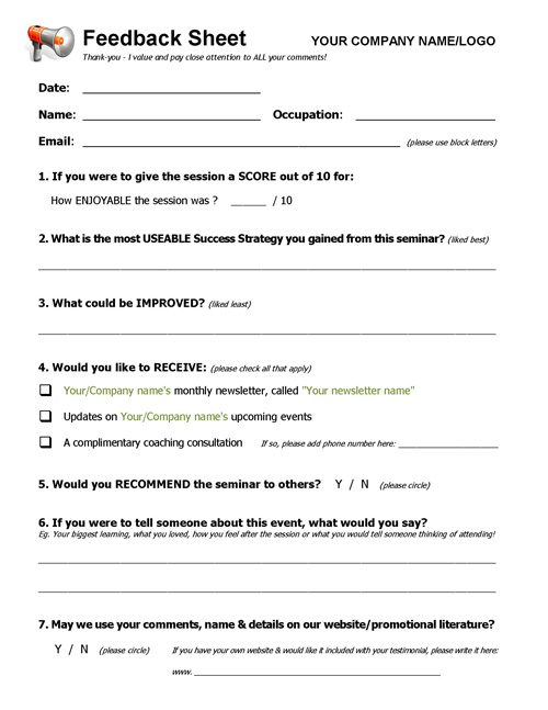 Workshop Feedback Form. Workshop Evaluation Form Doc Workshop