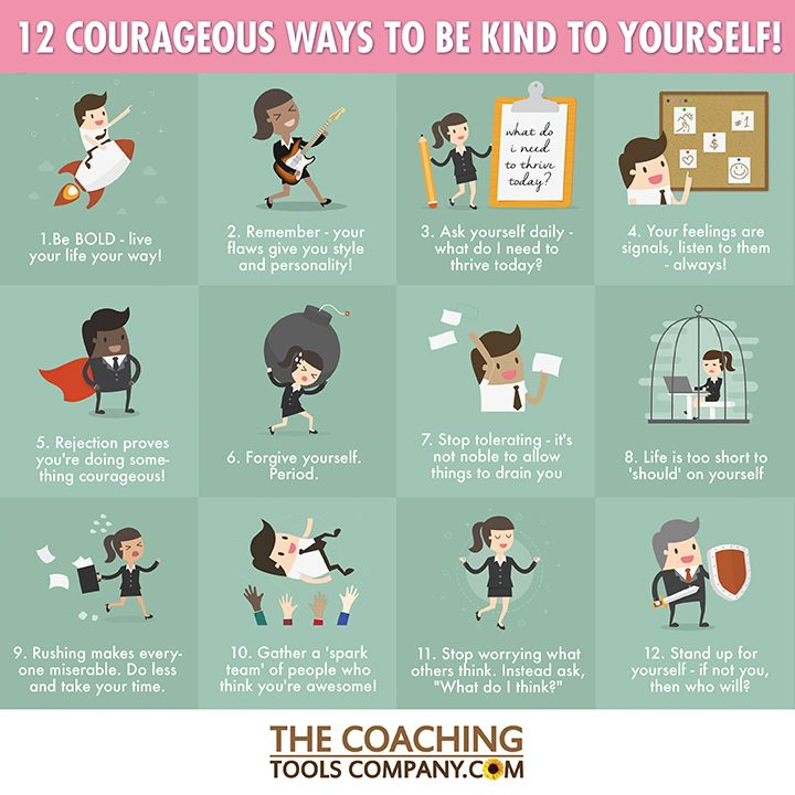12 Courageous Ways to Be Kind To Yourself Infographic