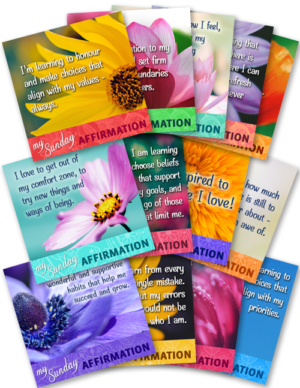 13 Graphics - Each with an Affirmation to Share Weekly on Sundays (Q3)