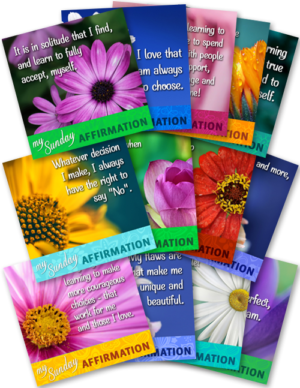 13 Graphics - Each with an Affirmation to Share Weekly on Sundays (Q4)