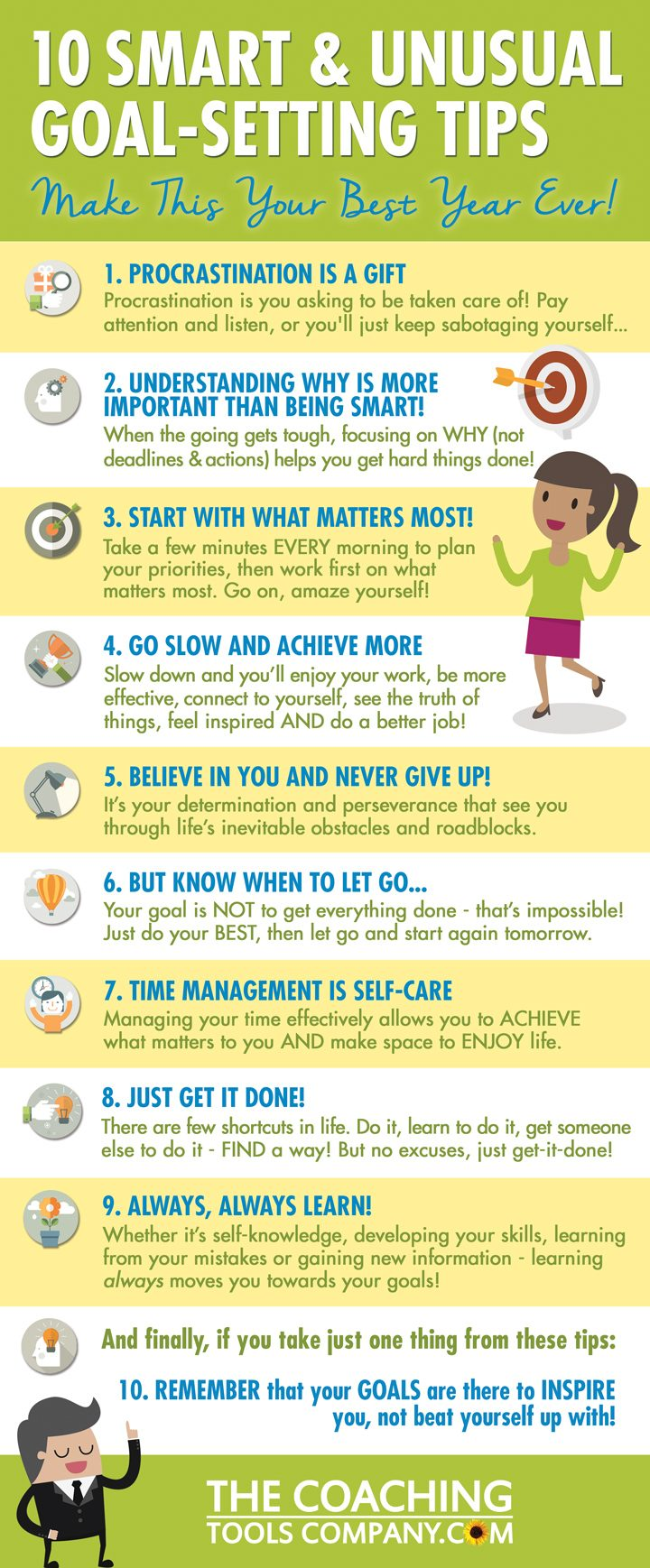 10 Smart & Unusual Goal-Setting Tips Infographic