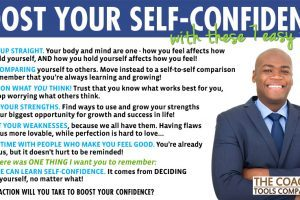 7 Tips to Boost Your Confidence Graphic with Confident Coach wearing suit