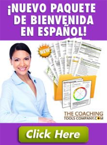 Herramientas de Coaching En Espagnol - Vertical Image of Coach with Tools and Button