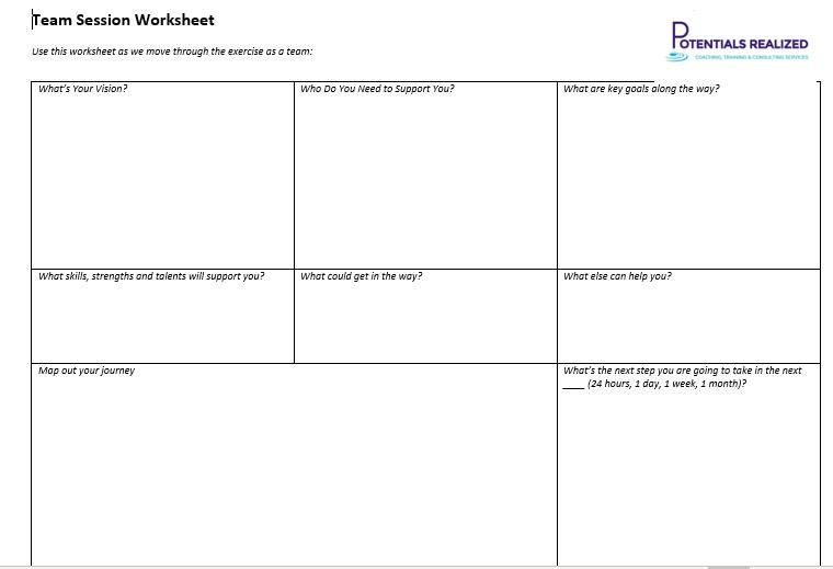 Example One Page Vision Worksheet - copyright Jennifer Britton