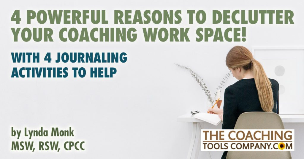 Coach Journaling at desk to Declutter Workspace