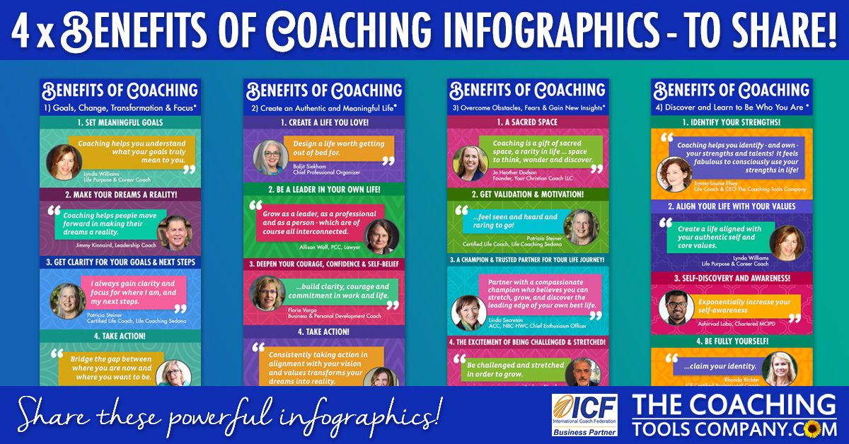 4 Benefits of Coaching Infographics on Blue background