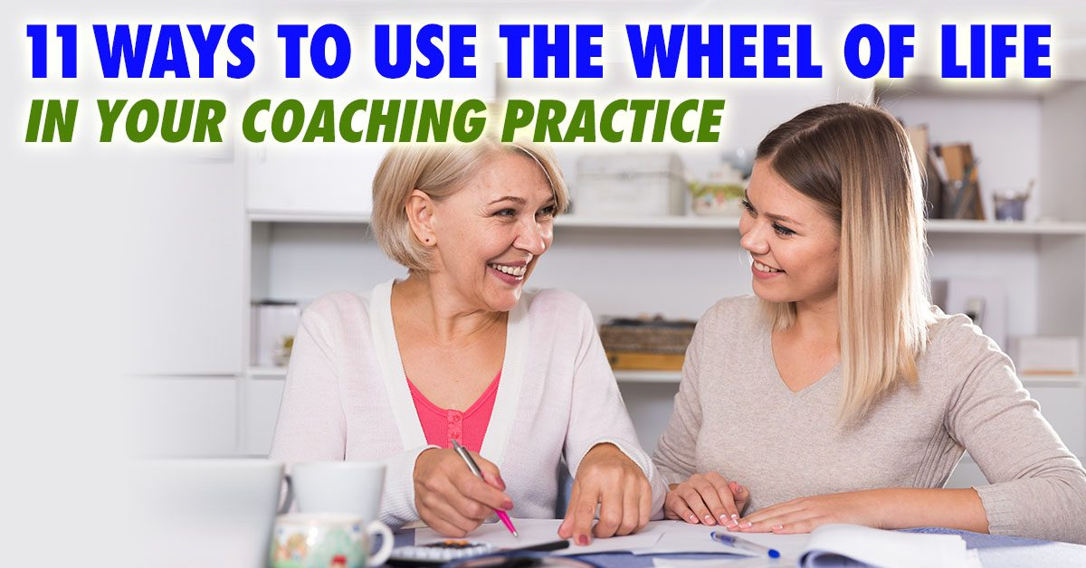 Coach with Client showing 11 Ways to use the Life Balance Wheel Exercise