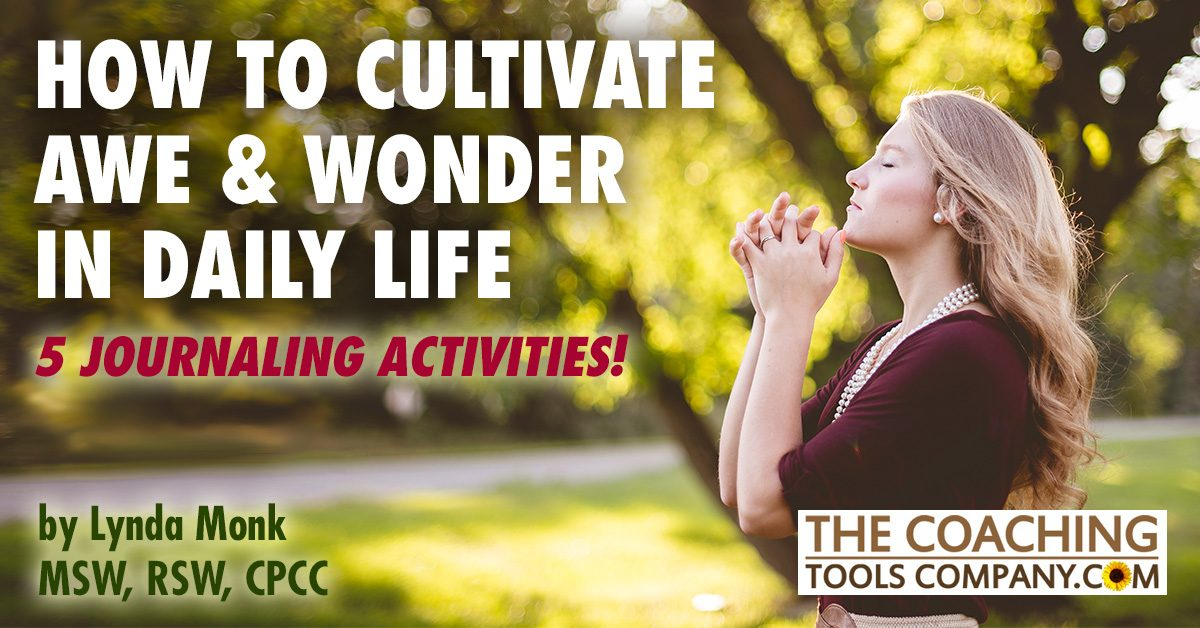 5 Journaling Activities Awe & Wonder shown by Woman in nature