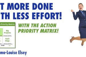 Action Priority Matrix Grid and Happy Coach Jumping