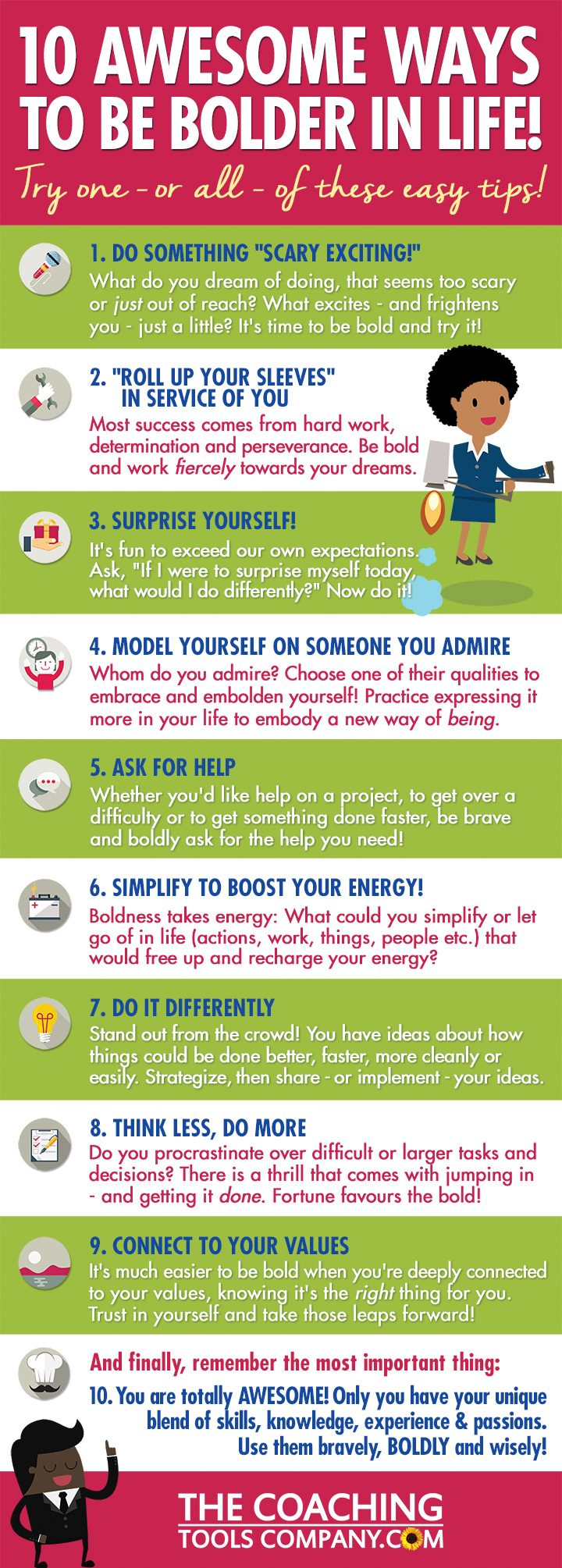 10 Ways to be Bolder in Life Infographic