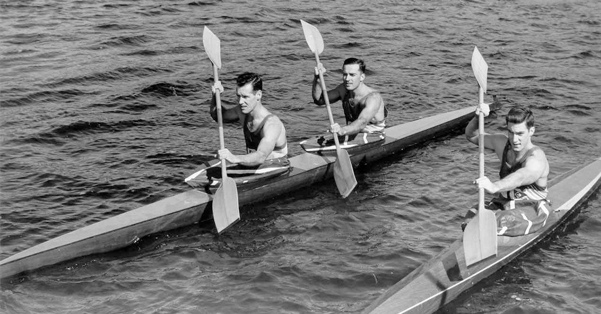 Canada's Olympic Kayak Team in 1960. Lou Lukanovich is stern (middle of picture) with Mike Brown and Al McCleery.